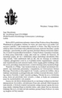 List kondolencyjny Ojca Świętego Jana Pawła II do ks. abp. Józefa Życińskiego Wielkiego Kanclerza Katolickiego Uniwersytetu Lubelskiego w związku ze śmiercią prof. Ireny Sławińskiej.