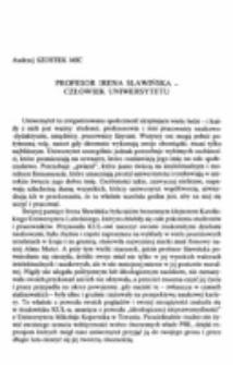 Profesor Irena Sławińska - człowiek uniwersytetu.