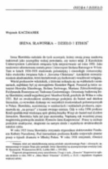Irena Sławińska : dzieło i ethos.