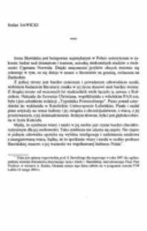 """Tekst wypowiedzi prof. S. Sawickiego dla nagranego w roku 1997 dla ogólnopolskiej telewizji dokumentu dotyczącego życia i dzieła I. Sławińskiej, zatytułowanego """"Pasje Pani Profesor"""", w reżyserii A. Kulika."""