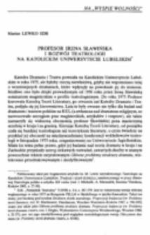 Profesor Irena Sławińska i rozwój teatrologii na Katolickim Uniwersytecie Lubelskim.