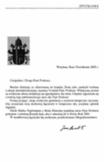 List Ojca Świętego Jana Pawła II do prof. Ireny Sławińskiej z podziękowaniem za książkę Świat jako spektakl, wydaną z okazji dziewięćdziesiątej rocznicy urodzin Pani Profesor.