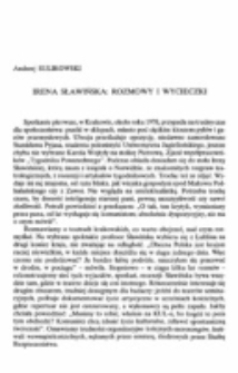 Irena Sławińska: rozmowy i wycieczki.