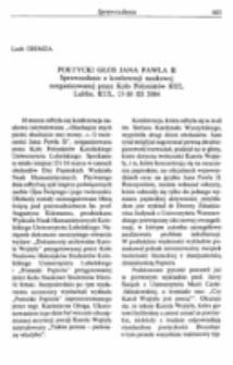 Poetycki głos Jana Pawła II. Sprawozdanie z konferencji naukowej zorganizowanej przez Koło Polonistów KUL, Lublin, KUL, 16 III 2004.