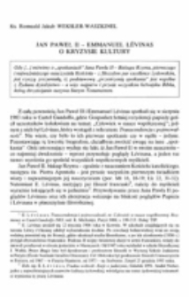 Jan Paweł II - Emmanuel Lévinas o kryzysie kultury.