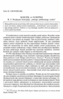 """Kościół a państwo. R. J. Neuhausa koncepcja """"pustego publicznego rynku""""."""