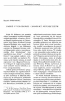 Papież i teologowie - konflikt autorytetów.