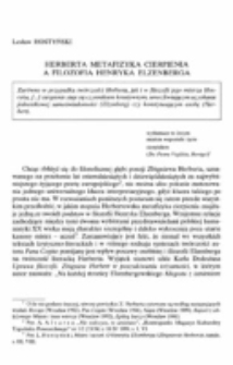 Herberta metafizyka cierpienia a filozofia Henryka Elzenberga.