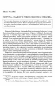 Ojczyzna i naród w poezji Zbigniewa Herberta.