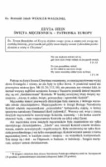 Edyta Stein. Święta męczennica - patronka Europy.