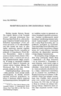 Martyrologium dwudziestego wieku.