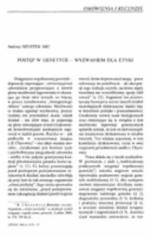 Postęp w genetyce - wyzwaniem dla etyki.