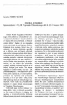 Osoba i dobro. Sprawozdanie z XLIII Tygodnia Filozoficznego KUL 12-15 marca 2001.