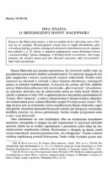Dwa pisania o historiozofii Hanny Malewskiej.