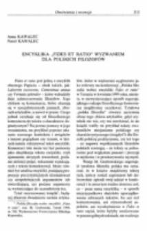 """Encyklika """"Fides et ratio"""" wyzwaniem dla polskich filozofów."""