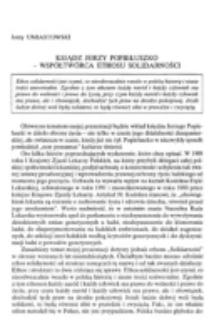 Ksiądz Jerzy Popiełuszko - współtwórca ethosu solidarności.
