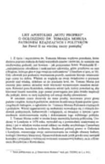 """List apostolski """"motu proprio"""" o ogłoszeniu św. Tomasza Morusa Patronem rządzących i polityków."""