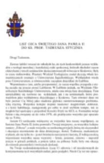 List Ojca Świętego Jana Pawła II do ks. prof. Tadeusza Stycznia.