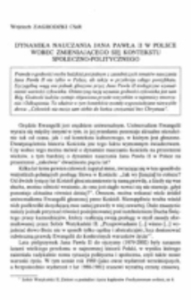 Dynamika nauczania Jana Pawła II w Polsce wobec zmieniającego się kontekstu społeczno-politycznego.