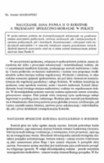 Nauczanie Jana Pawła II o rodzinie a przemiany społeczno-moralne w Polsce.