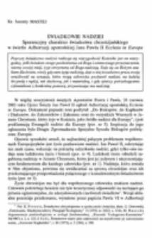 Świadkowie nadziei. Sperancyjny charakter świadectwa chrześcijańskiego w świetle Adhortacji apostolskiej Jana Pawła II Ecclesiain Europa.