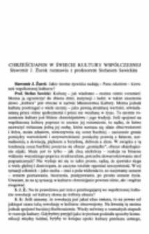 Chrześcijanin w świecie kultury współczesnej. Sławomir J. Żurek rozmawia z profesorem Stefanem Sawickim.