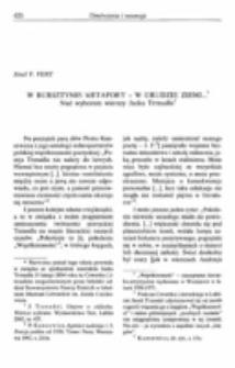 W bursztynie metafory - w grudzie ziemi... Nad wyborem wierszy Jacka Trznadla. Recenzja : J. Trznadel, Utajone w oddechu. Wiersze wybrane, Wydawnictwo Test, Lublin 2003.