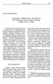 """""""Rodzina wspólnotą szczęścia"""".Sprawozdanie z XXI Międzynarodowego Kongresu Rodziny, Lublin, 23-25 IV 2004."""