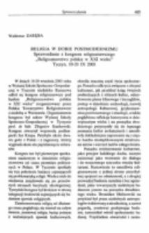 """Religia w dobie postmodernizmu.Sprawozdanie z kongresu """"Religioznawstwo polskie w XXI wieku"""", Tyczyn, 18-20 IX 2003."""