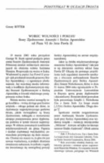 Wobec wolności i pokoju. Stany Zjednoczone Ameryki i Stolica Apostolska: od Piusa VI do Jana Pawła II.