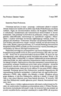List do Pana Profesora Zdzisława Najdera.