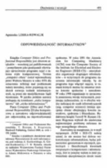 Odpowiedzialność informatyków. Recezja : Computer Ethics and Professional Responsibility, red. T. Bynum, S. Rogerson, Blackwell Publishing, Oxford 2004.
