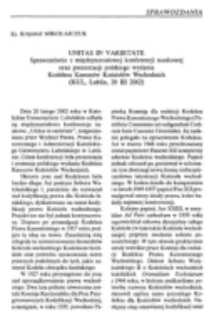 Unitas in varietate (sprawozdanie z międzynarodowej konferencji naukowej oraz prezentacji polskiego wydania Kodeksu Kanonów Wschodnich, KUL, 20 II 2002).