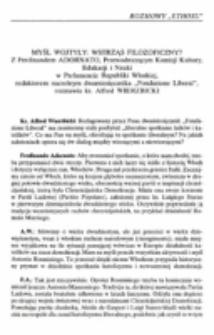 """Myśl Wojtyły: wstrząs filozoficzny? Z Ferdinandem Adornato, Przewodniczącym Komisji Kultury, Edukacji i Nauki w Parlamencie Republiki Włoskiej, redaktorem naczelnym dwumiesięcznika """"Fondazione Liberał"""",rozmawia ks. Alfred Wierzbicki."""