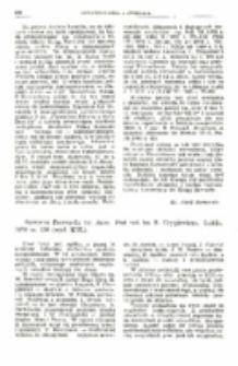 Recenzja : Egzegeza Ewangelii św. Jana. Pod red. ks. F. Gryglewicza. Lublin 1976 ss. 226 (wyd. KUL).