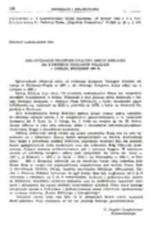 Sprawozdanie przewodniczącego Sekcji Biblijnej na Kongresie Teologów Polskich. Lublin, wrzesień 1983.