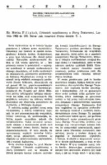 Recenzja : Ks. Marian Filipiak , Człowiek współczesny a Stary Testament. Lublin 1982 ss. 192. Seria: Jak rozumieć Pismo święte. T. 1.