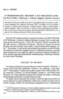 """O proponowaniu prawdy i jej nienarzucaniu.Jan Paweł Wielki i deklaracja o wolności religijnej """"Dignitatis humanae""""."""