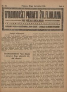 Wiadomości Parafji Św. Florjana przy Kościele Serca Jezusa za Zezwoleniem Władzy Duchownej Królowi Wieków Nieśmiertelnemu Cześć i Chwała na Wieki Wieków!. R. 2, nr 16 (1919)