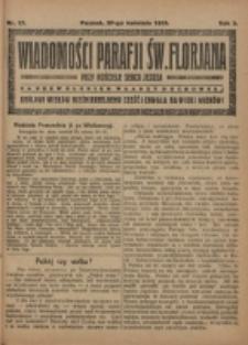 Wiadomości Parafji Św. Florjana przy Kościele Serca Jezusa za Zezwoleniem Władzy Duchownej Królowi Wieków Nieśmiertelnemu Cześć i Chwała na Wieki Wieków!. R. 2, nr 17 (1919)