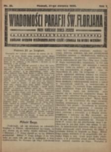 Wiadomości Parafji Św. Florjana przy Kościele Serca Jezusa za Zezwoleniem Władzy Duchownej Królowi Wieków Nieśmiertelnemu Cześć i Chwała na Wieki Wieków!. R. 2, nr 35 (1919)
