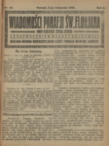 Wiadomości Parafji Św. Florjana przy Kościele Serca Jezusa za Zezwoleniem Władzy Duchownej Królowi Wieków Nieśmiertelnemu Cześć i Chwała na Wieki Wieków!. R. 2, nr 44 (1919)