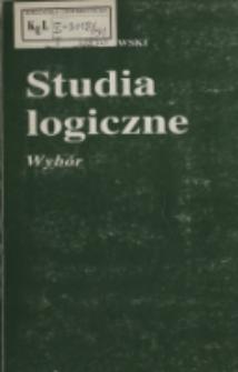 Studia logiczne : wybór / Ludwik Borkowski.