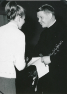 """80-lecie encykliki """"Rerum Novarum"""", 4-5.V.1971 : ks. prof. Wilhelm Weber z Münster po wykładzie"""
