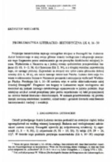 Problematyka literacko-historyczna Łk 4, 16-30.