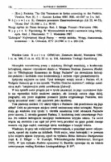 Recenzja : Wiesław Leon Rosłon OFMConv, Zammeru Maskil. Warszawa 1986.I cz. ss. 300; II cz. ss. 422; III cz. ss. 118, Akademia Teologii Katolickiej.