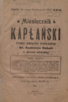 Miesięcznik Kapłański. R. 3, nr 9/10 (1923)