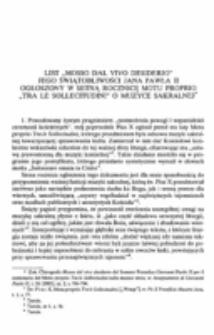 """List """"Mosso dal vivo desiderio"""" Jego Świątobliwości Jana Pawła II ogłoszony w setną rocznicę Motu Proprio""""Tra le Sollecitudini"""" o muzyce sakralnej."""