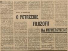 O potrzebie filozofii na uniwersytecie.