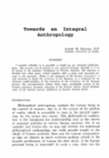 Towards an integral antropology.